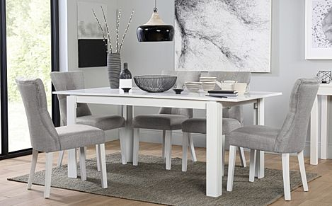 Aspen White Extending Dining Table with 6 Bewley Light Grey Fabric Chairs