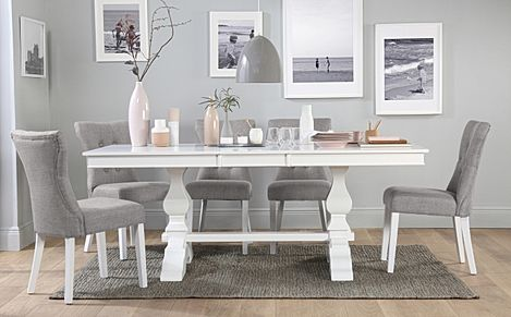Cavendish White Extending Dining Table with 6 Bewley Light Grey Fabric Chairs