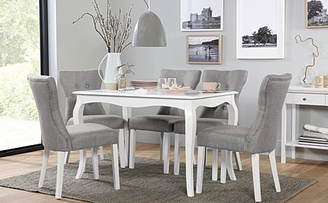 Clarendon White Dining Table with 6 Bewley Light Grey Fabric Chairs