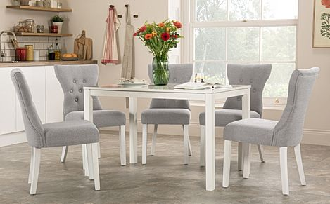 Milton White Dining Table with 6 Bewley Light Grey Fabric Chairs