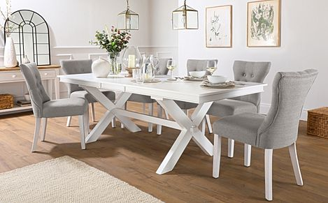 Grange White Extending Dining Table with 8 Bewley Light Grey Fabric Chairs