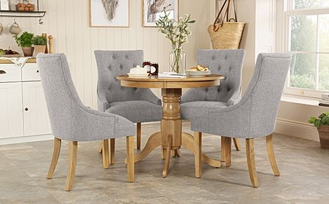 Kingston Round Oak Dining Table with 4 Duke Light Grey Fabric Chairs