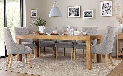 Cambridge 175-220cm Oak Extending Dining Table with 8 Duke Light Grey Fabric Chairs
