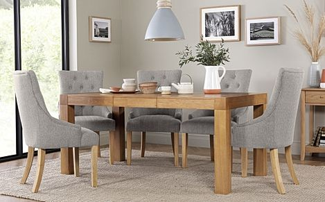 Cambridge 125-170cm Oak Extending Dining Table with 6 Duke Light Grey Fabric Chairs