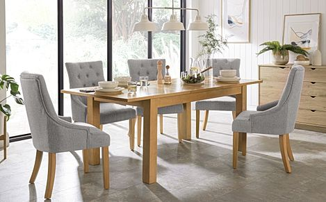 Hamilton 150-200cm Oak Extending Dining Table with 6 Duke Light Grey Fabric Chairs