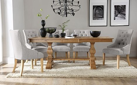 Cavendish Oak Extending Dining Table with 8 Duke Light Grey Fabric Chairs