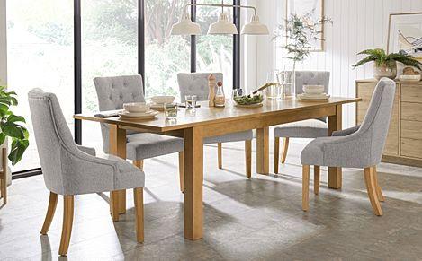 Hamilton 180-230cm Oak Extending Dining Table with 6 Duke Light Grey Fabric Chairs