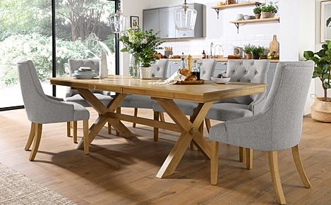 Grange Oak Extending Dining Table with 8 Duke Light Grey Fabric Chairs