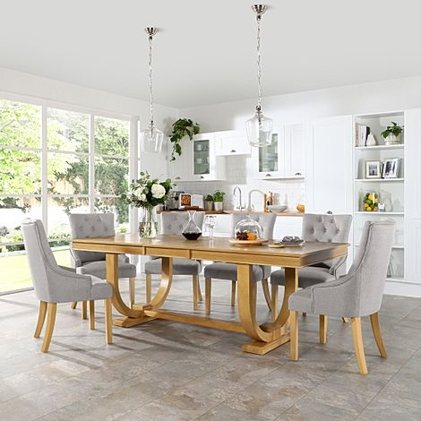 Pavilion Oak Extending Dining Table with 4 Duke Light Grey Fabric Chairs