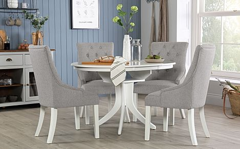 Hudson Round White Extending Dining Table with 4 Duke Light Grey Fabric Chairs