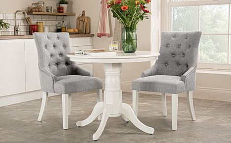 Kingston Round White Dining Table with 2 Duke Light Grey Fabric Chairs