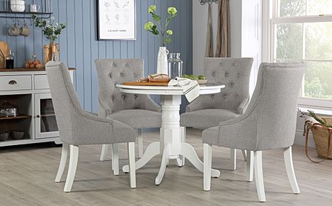 Kingston Round White Dining Table with 4 Duke Light Grey Fabric Chairs