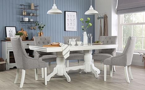 Chatsworth White Extending Dining Table with 6 Duke Light Grey Fabric Chairs