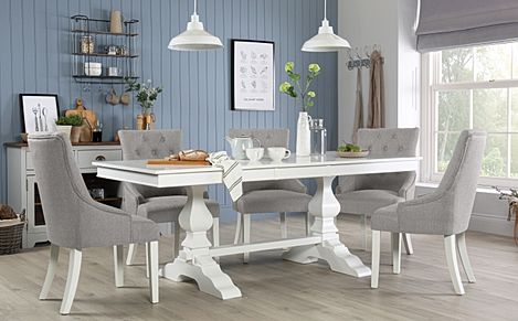 Cavendish White Extending Dining Table with 6 Duke Light Grey Fabric Chairs