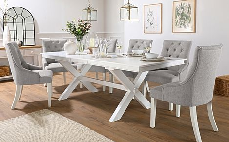 Grange White Extending Dining Table with 8 Duke Light Grey Fabric Chairs