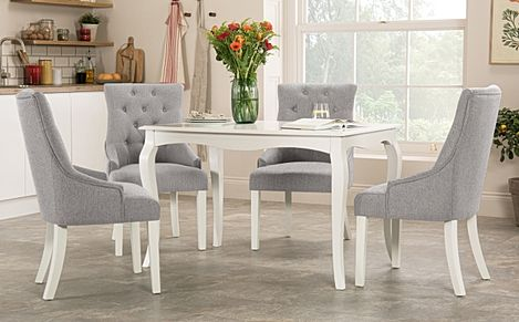 Clarendon White Dining Table with 4 Duke Light Grey Fabric Chairs