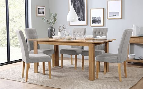 Bali Oak Extending Dining Table with 6 Regent Light Grey Fabric Chairs