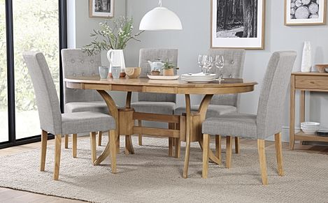 Townhouse Oval Oak Extending Dining Table with 4 Regent Light Grey Fabric Chairs