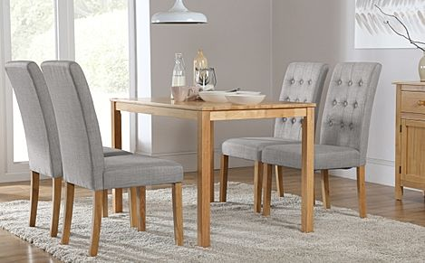 Milton Oak Dining Table with 6 Regent Light Grey Fabric Chairs