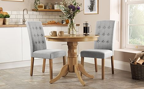Kingston Round Oak Dining Table with 2 Regent Light Grey Fabric Chairs