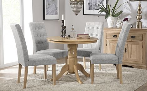 Kingston Round Oak Dining Table with 4 Regent Light Grey Fabric Chairs