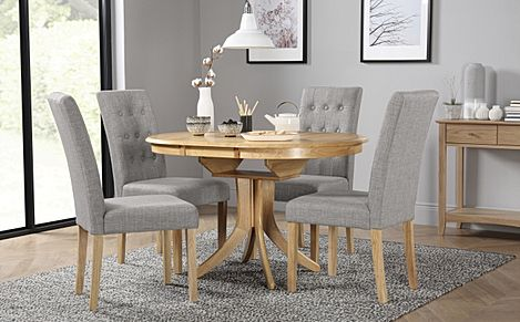 Hudson Round Oak Extending Dining Table with 6 Regent Light Grey Fabric Chairs