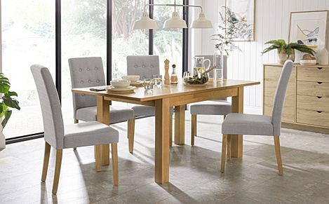 Hamilton 120-170cm Oak Extending Dining Table with 6 Regent Light Grey Fabric Chairs