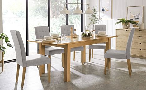 Hamilton 150-200cm Oak Extending Dining Table with 4 Regent Light Grey Fabric Chairs