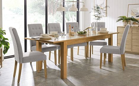 Hamilton 180-230cm Oak Extending Dining Table with 6 Regent Light Grey Fabric Chairs