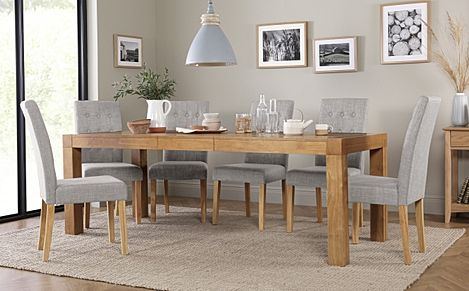 Cambridge 175-220cm Oak Extending Dining Table with 6 Regent Light Grey Fabric Chairs