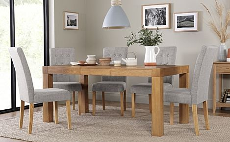 Cambridge 125-170cm Oak Extending Dining Table with 6 Regent Light Grey Fabric Chairs