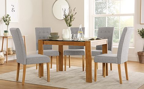 Tate 120cm Oak and Glass Dining Table with 4 Regent Light Grey Fabric Chairs