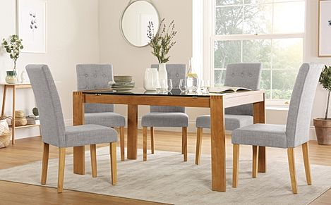 Tate 150cm Oak and Glass Dining Table with 4 Regent Light Grey Fabric Chairs