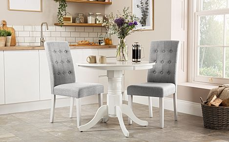 Kingston Round White Dining Table with 2 Regent Light Grey Fabric Chairs