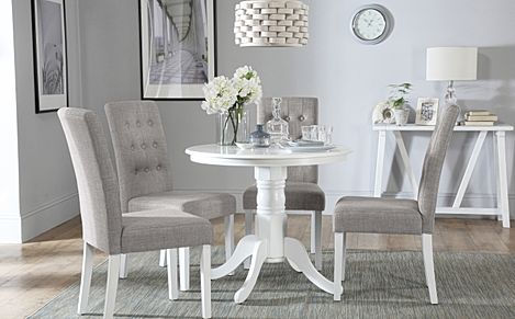 Kingston Round White Dining Table with 4 Regent Light Grey Fabric Chairs