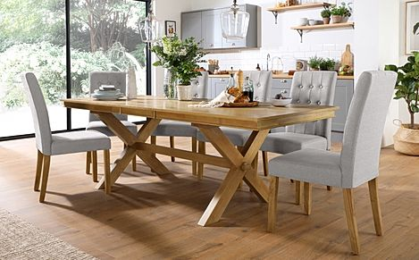 Grange Oak Extending Dining Table with 8 Regent Light Grey Fabric Chairs