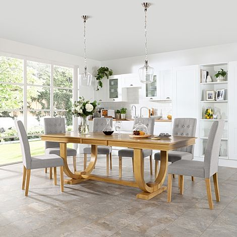 Pavilion Oak Extending Dining Table with 6 Regent Light Grey Fabric Chairs