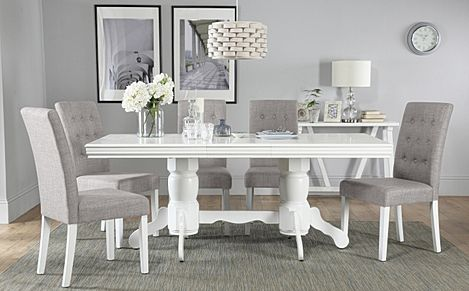 Chatsworth White Extending Dining Table with 6 Regent Light Grey Fabric Chairs