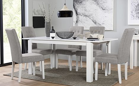Aspen White Extending Dining Table with 6 Regent Light Grey Fabric Chairs