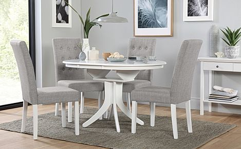 Hudson Round White Extending Dining Table with 6 Regent Light Grey Fabric Chairs