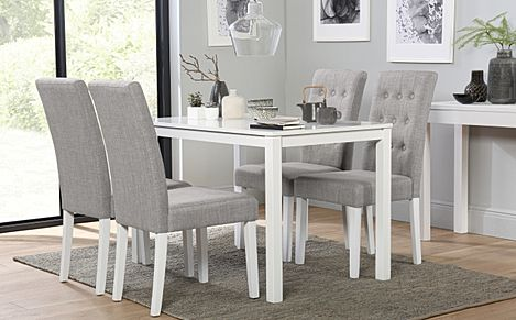 Milton White Dining Table with 4 Regent Light Grey Fabric Chairs