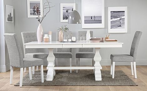 Cavendish White Extending Dining Table with 6 Regent Light Grey Fabric Chairs