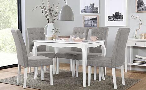 Clarendon White Dining Table with 6 Regent Light Grey Fabric Chairs