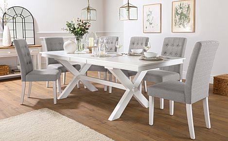 Grange White Extending Dining Table with 8 Regent Light Grey Fabric Chairs