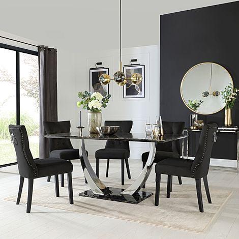 Peake Black Marble and Chrome Dining Table with 6 Kensington Black Velvet Chairs