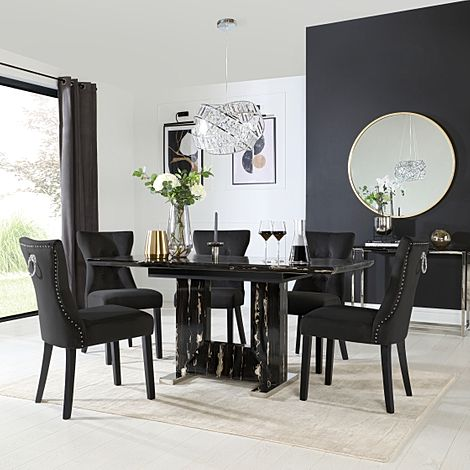 Florence Black Marble Extending Dining Table with 6 Kensington Black Velvet Chairs