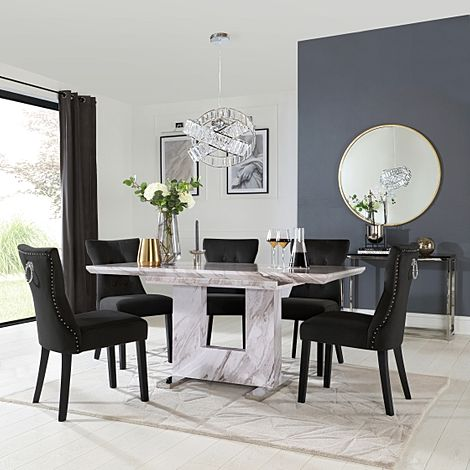 Florence Grey Marble Extending Dining Table with 6 Kensington Black Velvet Chairs