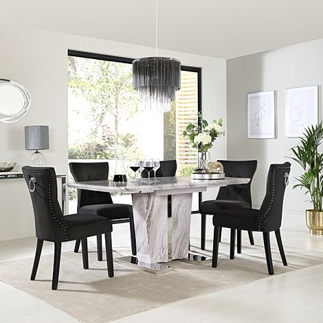 Vienna Grey Marble Extending Dining Table with 6 Kensington Black Velvet Chairs