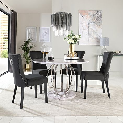 Savoy Round Grey Marble and Chrome Dining Table with 4 Kensington Black Velvet Chairs