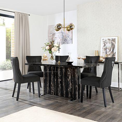 Magnus Black Marble Dining Table with 6 Kensington Black Velvet Chairs